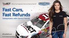 Enter the TaxACT Fast Cars Fast Refunds Sweepstakes with Danica Patrick! Prizes include VIP tickets to meet Danica Patrick on race day, plus more!  NO PURCHASE NECESSARY TO ENTER OR WIN. Must be 18 or older and a US or DC resident to enter.  Promotion is subject to the Official Rules. Enter now!