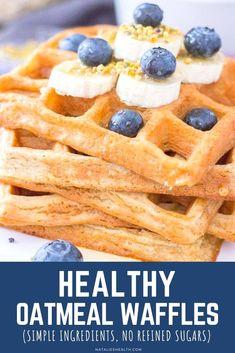 Easy Waffle Recipe, Waffle Maker Recipes, Oatmeal Waffles, Waffle Ingredients, Healthy Waffles, Healthy Breakfast Options, Easy No Bake Desserts, Baby Breakfast, Birthday Breakfast