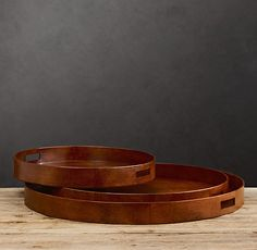 Artisan Leather Small Round Chestnut Tray $349
