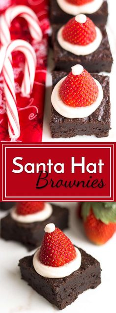 Brownies that are topped with a circle of frosting and a strawberry to look like Santa Hat Brownies. These little desserts make a perfect Christmas party or holiday gathering treat.