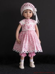 "Pink Grey 5 PC Set OOAK Handmade for 13"" Effner Little Darling BJD by JEC 