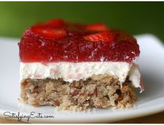 "Amazing Strawberry ""Pretzel"" Salad | Satisfying Eats (gluten free, refined sugar free, egg free, optionally nut free)"