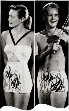 His and Hers matching Catalina angel fish bathing swim suites 1940s