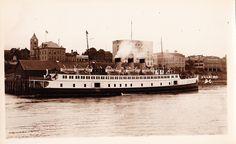Princess Elaine docked at Nanaimo circa Real photo postcard. Canadian Pacific Railway, Boat Plans, Photo Postcards, British Columbia, West Coast, 1930s, Boats, Coastal, Ships