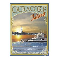 Ocracoke Island Ferry  -Art Deco Style Vintage Travel Poster-by Aurelio Grisanty