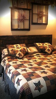 Primitive Decor Quilts Primitive Bedroom Quilts Primitive Quilt Bedding Sets Newest Headboard Primitive Black Shutter And Cambridge Star Quilt Beautiful Primitive Window Shelves Rustic House, Country Decor, Decor, Bedroom Makeover, House, Primitive Decorating Country, Home, Country Bedroom, Home Decor