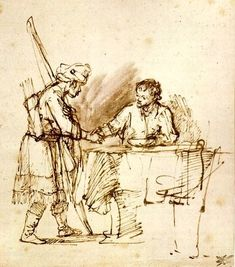 Rembrandt Harmensz. van Rijn: Esau Sells his Birhtright to Jacob.  Isaac tiene dos hijos gemelos, Esaú y Jacob. Esaú vende su primogenitura a Jacob a cambio de un plato de lentejas.