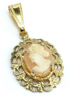 Vintage Gold Tone Genuine Carved Shell Cameo Necklace Pendant No Chain