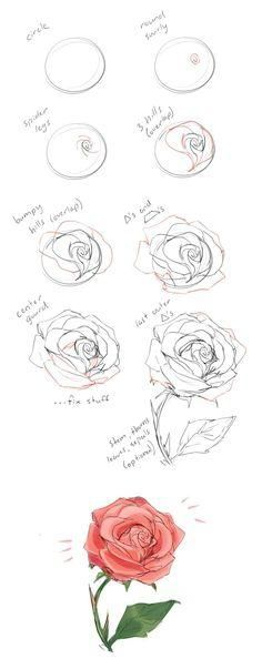 "How to draw a rose tutorial by cherrimut ★ || CHARACTER DESIGN REFERENCES™ ( www.facebook.com/... & www.pinterest.com... ) • Love Character Design? Join the < a class="" pintag searchlink"" data-query="" %23CDChallenge"" data-type="" hashtag"" href="" /search/?q=%23CDChallenge& rs=hashtag"" r..."