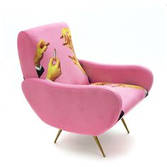 Add a touch of eccentricity to any interior with this Upholstered Wooden armchair from Seletti Wears Toiletpaper. Crafted from wood, this armchair has been upholstered with an eccentric design in vibr Peach Lipstick, Pink Lipsticks, Foyers, Ferrari, Oversized Furniture, Oversized Chair, Wooden Armchair, Lipstick Designs, Vintage Design