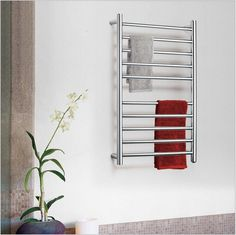 414.00$  Buy now - http://alikh8.worldwells.pw/go.php?t=32719271058 - 8 BAR  Square Electric heated towel rail  Stainless Steel Towel Rack Heater