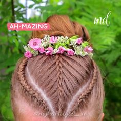Flechten An updo hairstyle which will do for any occasion! Flower Girl Hairstyles, Little Girl Hairstyles, Pretty Hairstyles, Braided Hairstyles, Natural Hair Babies, Natural Hair Styles, Short Hair Styles, Updo Styles, Baby Girl Hair