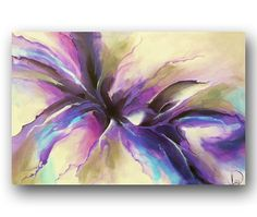 Abstract Painting Large Original Painting on Canvas Purple Painting Professional Painting Wall Art Canvas Art Fluid 36x24 Heather Day