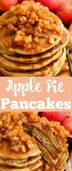 Apple Pie Pancakes - Amazing, fluffy buttermilk pancakes topped with warm, homemade apple pie topping. It's a comforting breakfast for the holidays and family breakfast together. #breakfast #pancakes #apples #applepie #holidayrecipes