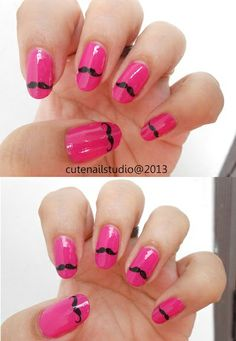 Mustache Nail Art Design. If you are a Mustache lover like me these are for you!