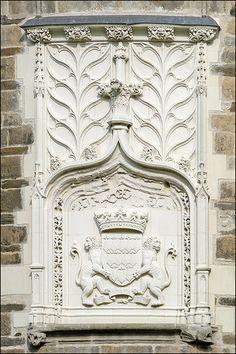 Blason aux armes de Bretagne à l'entrée du Château des Ducs de Bretagen (Nantes). Pays-de-la-Loire