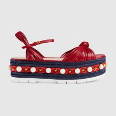 Leather knot espadrille