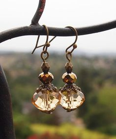 Look what I found on #zulily! Golden Amber Crystal & Coppertone Drop Earrings #zulilyfinds