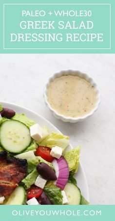 Salad Dressing Recipe + Paleo) - Group - Paleo, Whole 30 . - Best Salat -Greek Salad Dressing Recipe + Paleo) - Group - Paleo, Whole 30 . Best Greek Salad, Greek Salad Recipes, Salad Dressing Recipes, Whole 30 Salad Dressing Recipe, Dressing For Greek Salad, Paleo Dressing, Salad Dressings, Easy Whole 30 Recipes, Paleo Whole 30