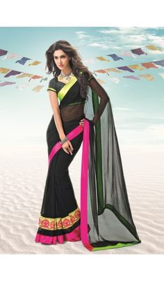 Shop the latest and #exclusive #R #Rajkumar #georgette #saree with neon color border and broad embroidered border. It comes with fancy fabric #designer blouse.