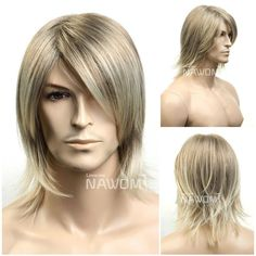 The Fashion And Personality Handsome Blonde Men S Fashion Short Wigs  Pelucas Rizadas 4bcc997e220a