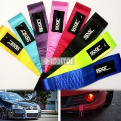 1pc 24cm x 5 cm Racing Car Styling Towing keychain 9 Colour Nylon Brand High Strength Universal JDM SSPARC Towing Ropes