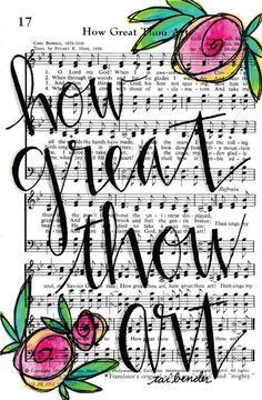 How Great Thou Art 5x7 Print Hymn Fine Art Hymnal Watercolor Ink Painting Praise Sheet Music Hand Lettering Calligraphy Bible Journaling by Growing Meadows Tai Bender