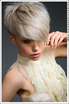 Short Hairstyles - Layered Platinum Pixie Cut!