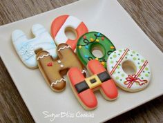 Love these cute cookies! Love the detail work on the letter cookies! Christmas Biscuits, Christmas Sugar Cookies, Christmas Sweets, Christmas Cooking, Noel Christmas, Christmas Goodies, Holiday Cookies, Santa Cookies, Halloween Cookies