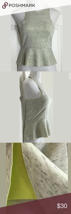 """Bar III Gray Sleeveless Peplum Scuba Blouse Cute gray heathered, high-neck peplum top with a zipper in the back. Bust: (XL-38""""); Length in the back from the shoulder: (XL-23""""). Smoke free home. Thank you for shopping my closet 😊🌺 Bar III Tops Blouses"""