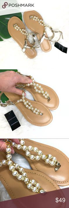 Wilsons Leather Slingback Pearl Sandals Size 7 New with tags. Wilsons Leather Slingback Pearl Sandals Size 7. Tan color with beautiful pearls and gems detail. This would be a great addition to your wardrobe summer style. Super chic. Wilsons Leather Shoes Sandals