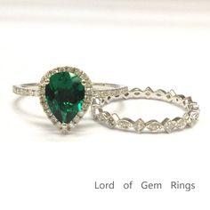 $619 Pear Emerald Engagement Ring Sets Pave Diamond Wedding 14K White Gold 6x8mm Art Deco