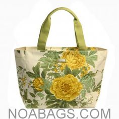 Jim Thompson Luxury Canvas Summer Bag Off White Floral Yellow & Green