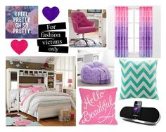 """""""#1177 Rich Girl's Girly Room"""" by arasshjit ❤ liked on Polyvore featuring interior, interiors, interior design, home, home decor, interior decorating, PBteen, Intelligent Design, Trademark Fine Art and room"""