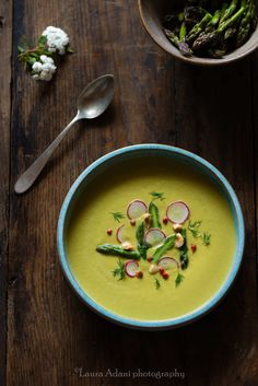 asparagus soup with radishes and hazelnuts