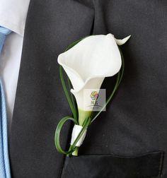 1 pcs lot white calla lily flower Corsage Groom groomsman Wedding party Man suit men Boutonniere pin brooch Hot Lapel Flower