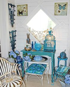 A nice blue display in the garden room at The Side Track Shops in Historic Glendale Kentucky.