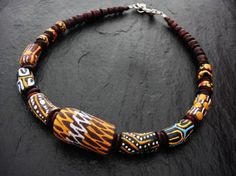 Ethnic Choker Tribal Necklace African Ghana Beads by ElPourElle
