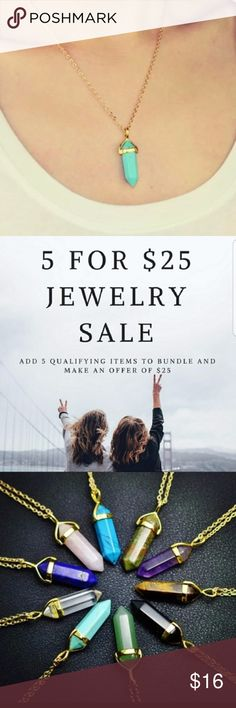 5for$25 Turquoise Crystal Pendant Necklace Beautiful turquoise color crystal necklace with gold color chain Jewelry Necklaces