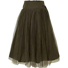 Jolie Moi Mesh midi skirt ($23) ❤ liked on Polyvore featuring skirts, bottoms, green, brown skirt, brown midi skirt, calf length skirts, midi flare skirt e knee length a line skirt
