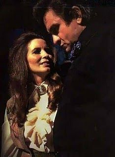 June Carter Cash in performance with hubby Johnny. photo undated.