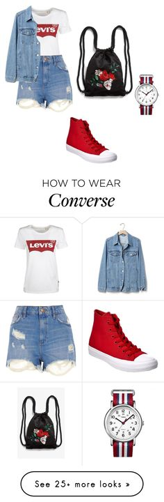 """""""Bez naslova #81"""" by a-mela1 on Polyvore featuring Levi's, River Island, Gap, Converse, Timex and Monki"""