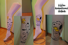 Snoopy hand painted tights