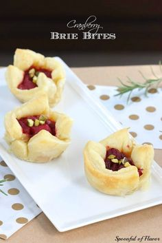 Cranberry Brie Bites ~ Perfect little appetizer to serve at your next dinner party or holiday event!