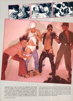 Village People, Playgirl, Jan. 1982 - This was a re-published photo from their Playgirl feature in Feb. 1979. None of the group appeared nude in the feature. Randy Jones and Glenn Hughes both appeared partially nude. Felipe Rose later appeared nude in the magazine.