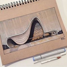 She leaves behind a body of work from buildings to furniture, footwear and cars, that delight and astound people all around the world. The world of architecture has lost a star today. Zaha Hadid Sketche by Reid Boyce. Interior Design Sketches, Industrial Design Sketch, Architecture Sketchbook, Architecture Design, Architecture Graphics, Chinese Architecture, Modern Architecture House, Futuristic Architecture, Modern Houses