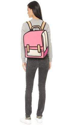 """A Jump From Paper backpack styled with colorblock panels for a modern trompe l'oeil effect. The wraparound side zip expands the depth and reveals a pass-through port for headphones. Patch front pocket. Velcro®-tab top flap and top zip. Lined interior with 3 pockets and a padded compartment for a 13"""" laptop. Locker loop and adjustable shoulder straps."""
