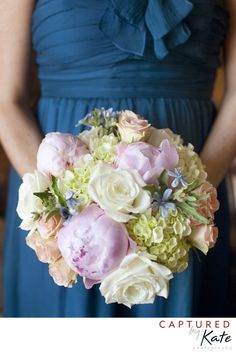 Love the pale purple with the blue dress