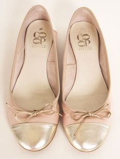 Blush pink & gold ballet bow flat shoes (cap toe)! These are so pretty:]