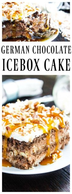 GERMAN CHOCOLATE ICEBOX CAKE – layers of homemade German Chocolate Frosting, rich & creamy chocolate mousse and chocolate graham crackers topped with homemade whipped cream, pecans and toasted coconut. Icebox Desserts, 13 Desserts, Best Dessert Recipes, Frozen Desserts, Cupcake Recipes, Sweet Recipes, Delicious Desserts, Frozen Treats, Icebox Cake Recipes